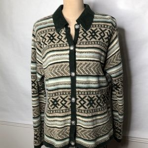 Pendleton wool/cotton/chenille button up sweater